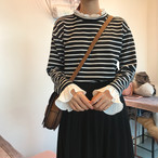【tops】激売れフレア袖ストライプ柄シャツブラウス