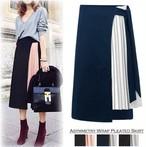 ラップスカート 巻きスカート プリーツスカート  ミモレ丈 切り替えスカート アシンメトリー
