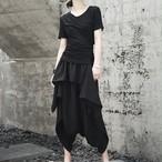 春夏の新作 スカート パンツ 黒 ゆったり サルエルパンツ風 フレア 民族衣装