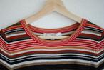 【WOMEN'S】USED Multi Border Cotton Knit T-shirt LOFT Petite