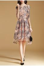 シックなひざ丈花柄メッシュレースドレス