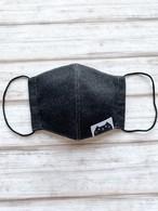 黒猫マスク*通気性が良くすぐ乾く!ノーマルタイプ【ブラックデニム×黒猫タグ】