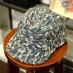 KUON(クオン) 古布唐草グリーン裂き織り・5パネルキャップ