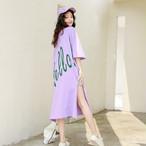 【dress】アルファベット若見え個性デザインスリットワンピース 22446424
