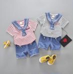 キッズマリン柄Tシャツ+パンツ2点セット