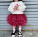 赤 ピンク グレー ベージュ 黒 5色カラー チュール 発表会 おしゃれ おんなのこ 子供服 こどもふく おでかけ