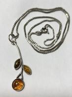 Vintage Polish Baltic Amber & 925 Silver Botanical Pendant Necklace