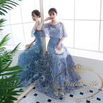 レディース オフショルダー ドレス 水色 花柄 格子柄 パーティードレス キャバ ホステス 冬 二次会 大き目サイズ
