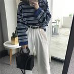 レトロ ストライプ セーター トップス【0350】