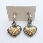 silver & gold heart pierce[p-459]