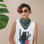 再入荷!Organic Cotton Neckerchief 'Westminster' Green リング付きミニスカーフ