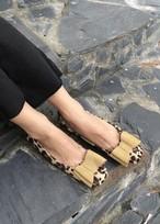 レオパードリボンフラットシューズ フラットシューズ 韓国ファッション