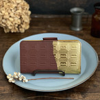 LLサイズ:革のチョコ手帳型スマホケース スイート(金の包み紙)