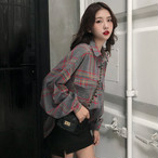 【tops】シャツPOLOネックファッションチェック柄長袖合わせやすい