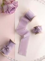 Lilac Silk Ribbon(手染め手裂きタイプ) ■木製スプール付 シルクリボン ライラック