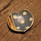 豆皿 ハート型 ブルー 水玉