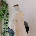 正絹紬 白梅鼠に花の小紋 袷