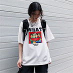 【tops】カジュアル半袖着痩せラウンドネックプリントTシャツ