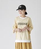 異素材重ねロゴプリントリブTシャツ(オフホワイト)