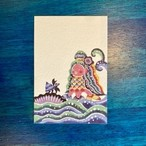 「アマビエちゃんとあおまきくんの出逢い」ポストカード