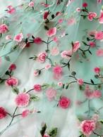 インド刺繍布チュール花グリーン【100cmカット済】
