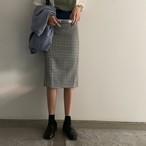 チェック柄 ミモレ丈 スカート【1130】