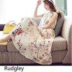 レディース ワンピース ホワイト ロング丈 サマードレス ノースリブ フレア 花柄 ゆったり エレガント シフォン