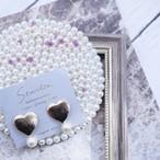 Line pattern heart pierce/earring