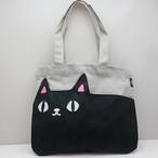 【猫3兄弟】ポケットトートバッグ(kuro) 【猫柄 23061】