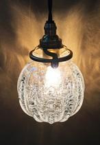 ヒマラヤ産原種 麻炭ガラス ランプシェードE17/透明クリア 球体
