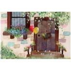 『夢を見ました』  玄関先に色鮮やかな風船が印象的な ふわふわ感じる春のイラスト  ポストカード