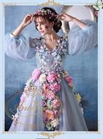 ロングドレス 造花 華やか ゴージャス 舞台衣装 ウェディングドレス 花ドレス 演奏会 結婚式ドレス