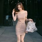 【dress】セクシーワンピースタイト着やせボディコンボートネックワンピース