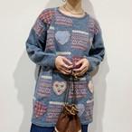 sax blue hearts knit sweater【223】
