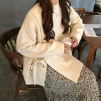 ニット サイドリボン トップス トレンド 2色 ホワイト ベージュ 大人可愛い レディース ファッション 韓国 オルチャン