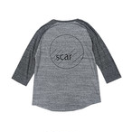 scar /////// CIRCLE RAGLAN 3/4SLEEVE TEE (Grey/Charcoal)