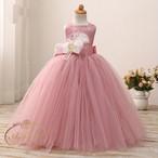 3色展開 インポートドレス  ピンク 子供 キッズ カラフル お姫様 ノースリーブ aライン 娘役 風