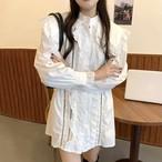 【残り2着!】即日発送 フリル レース シャツ ワンピース ワンカラー C0152
