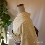 大島紬 白地に檜垣の小紋 袷