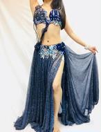 エジプト製 ベリーダンス衣装 ブルー豹柄