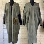 カラフルだけど古風な縦縞模様 絹100%アンサンブル(コート&ワンピース) 20AS013