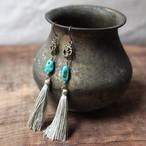 ピアス -turquoise × silver tassel-