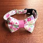 猫の首輪 リボン首輪 グログランリボン 花柄 ピンク