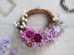 Lune Bonheur<violet>*ハーフムーンリース*プリザーブドフラワー*リース*お花*ギフト*母の日*結婚祝い*新築祝い*お誕生日祝い