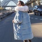 【outer】ダウンコートフード付きベルベット防寒フェイクファー襟コート