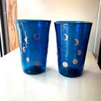 月の満ち欠けペアグラス(2個セット)紺と鳥