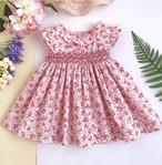 【即納/送料無料】新作 スモッキング刺繍 ピンク色 ワンピース