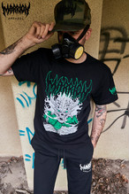 SKULL PUNCH TEE (Black×Green)