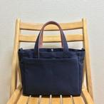 「ボックストート」小サイズ「ネイビー(紺)×ファインローズ」帆布トートバッグ 倉敷帆布 和泉木綿帆布
