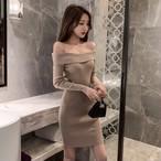 【ワンピース】ファッション長袖無地セクシーワンピース25058824